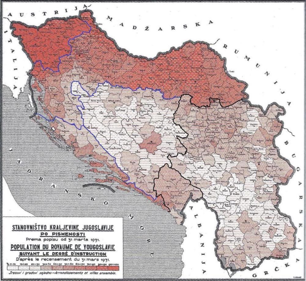 Mapa Jugoslavije Koja Otkriva U Ovim Krajevima Je Bilo Najvise