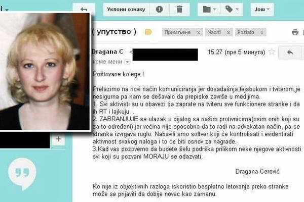 KO NIJE ISKORISTIO BESPLATNO LETOVANJE PREKO STRANKE, DOBIĆE NOVAC KAO ZAMENU! Procureo mejl kraljice SNS botova Dragane Cerović!