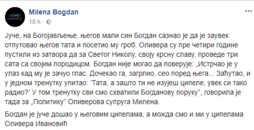Milenina objava na Fejsbuku