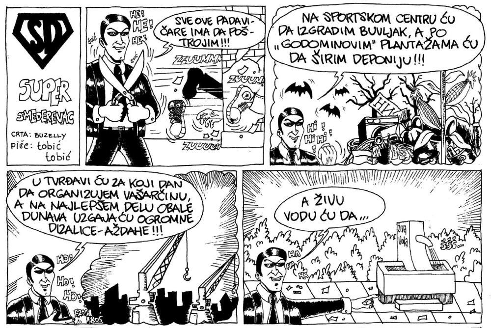 Glavni negativac u stripu ima lik nekadašnjeg visokog funkcionera SPS-a