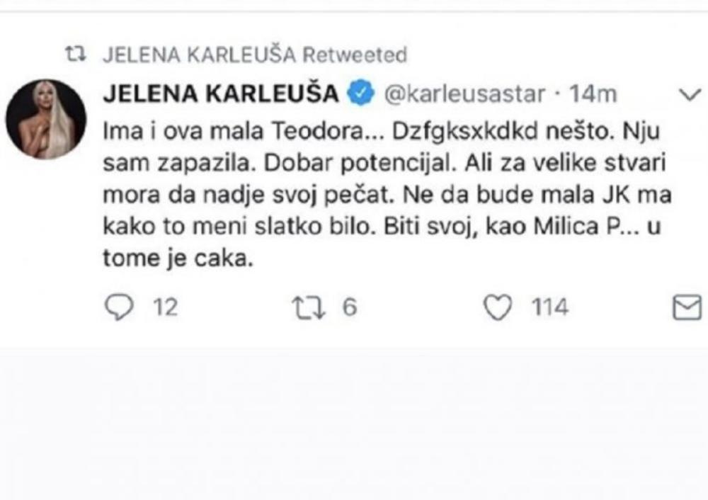 Tvit u kome je Karleuša 'potkačila