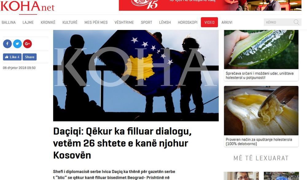Albanski mediji preneli izjavu Dačića kao udarnu