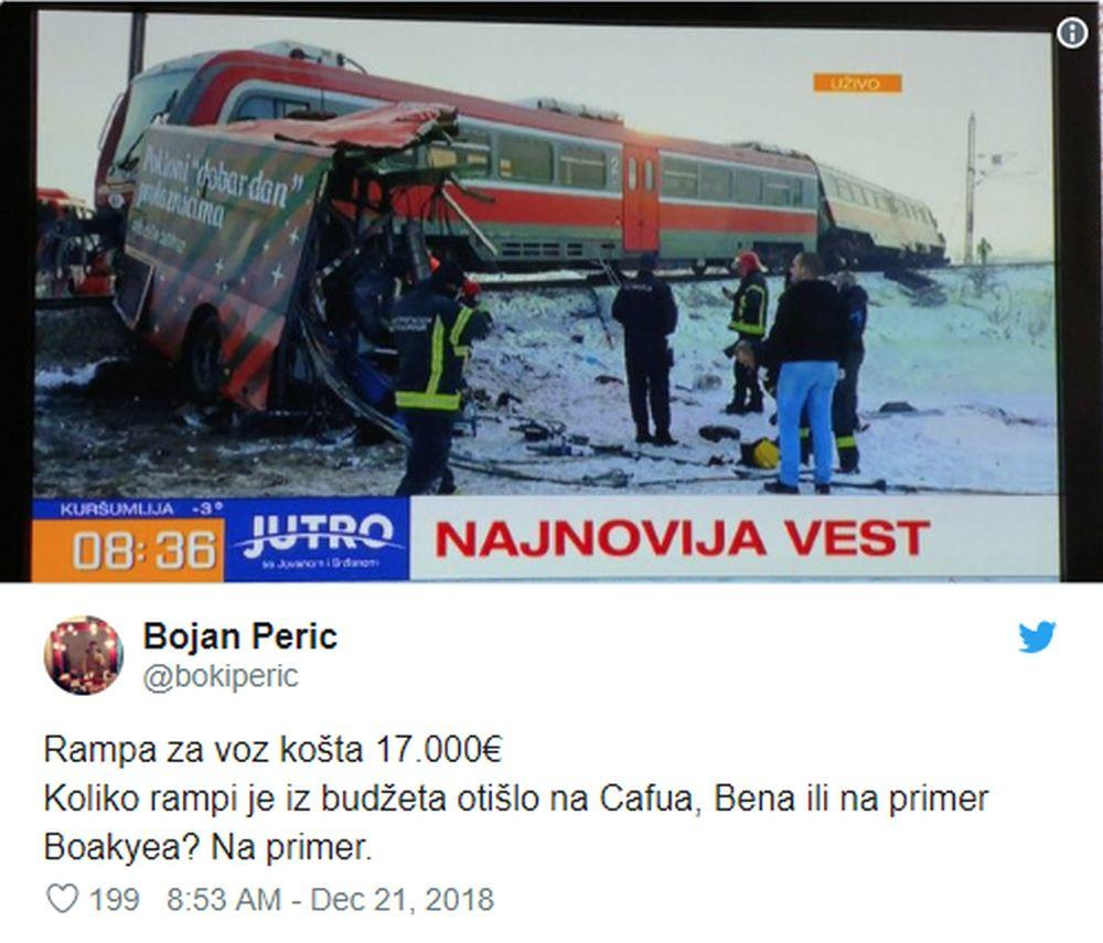 Tvit Bojana Perića koji je u međuvremenu obrisan