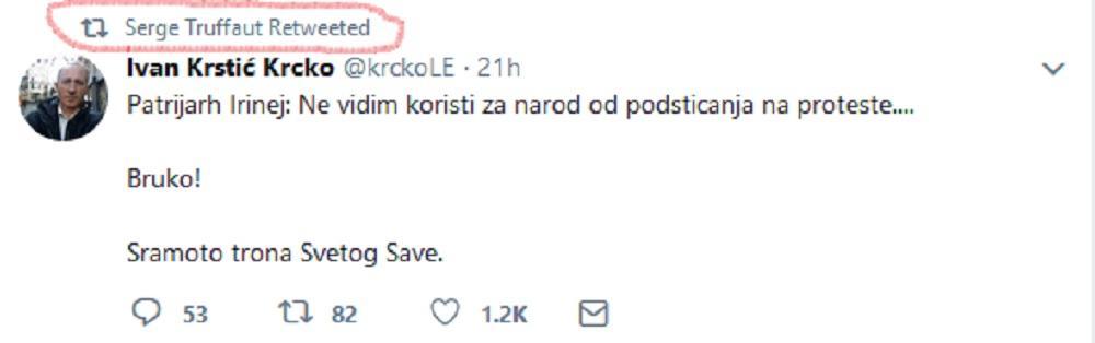 Sergej Trifunović retvitovao je Tvit u kome se napada patrijarh