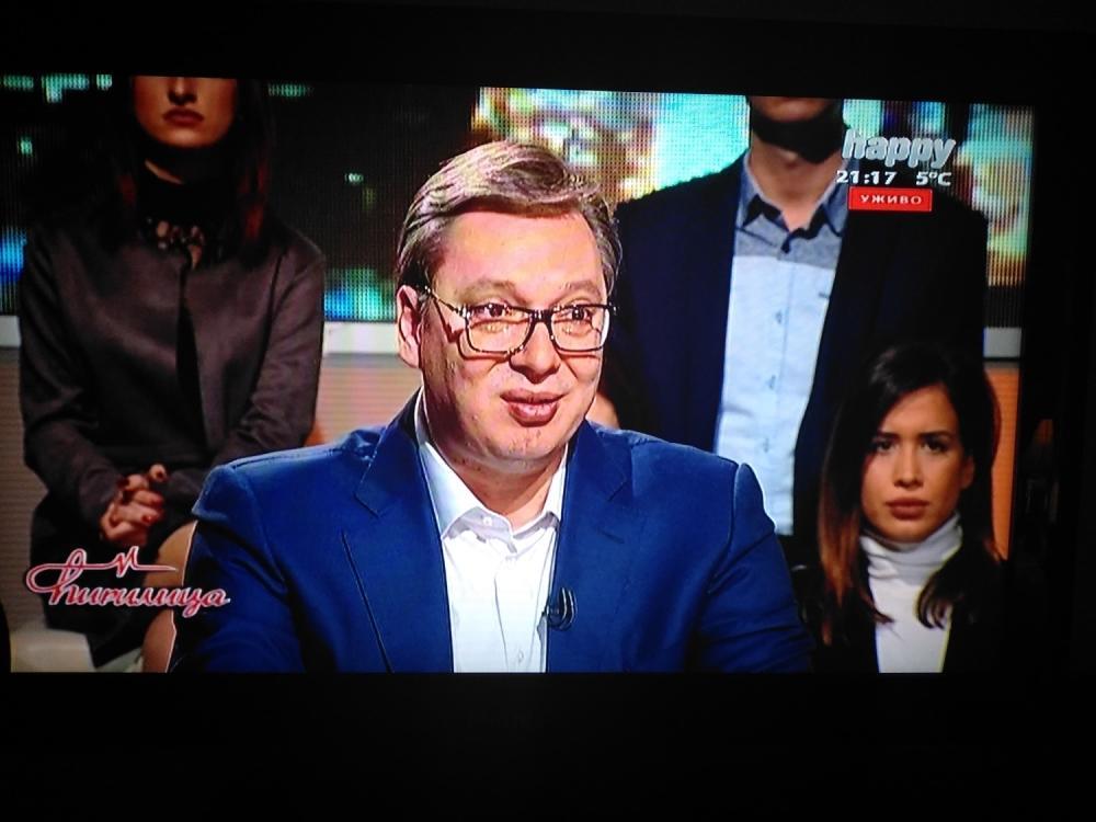 Predsednik Vučić tokom gostovanja u emisiji!