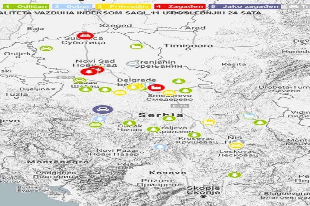 I mapa SEPA-e pokazuje da je Valjevo jako zagađeno