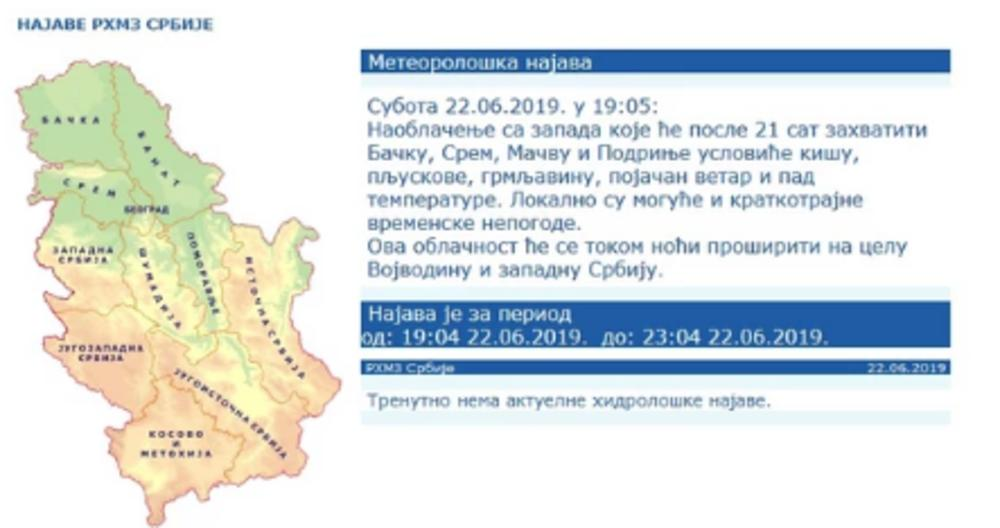 Upozorenje Rhmz Prvi Udar Za Manje Od Pola Sata Srbiju