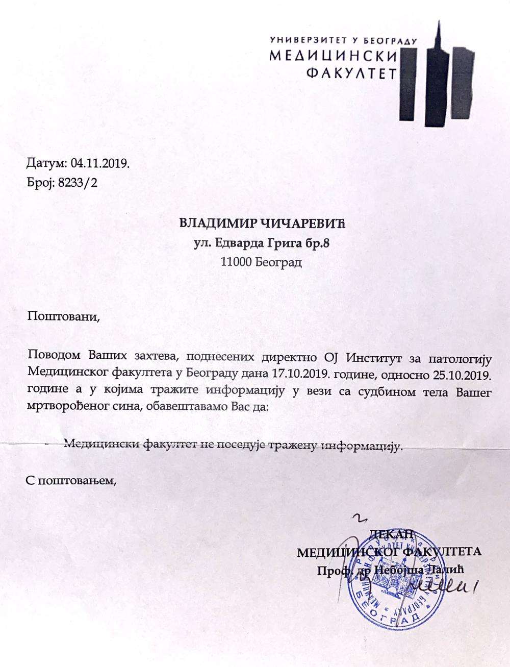 <p>Na lični zahtev, kako priča Vladimir Čičarević, preuzeo je parafinske blokove i odneo u laboratoriju u Zagrebu</p>
